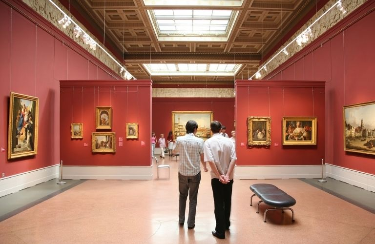 People standing in a museum